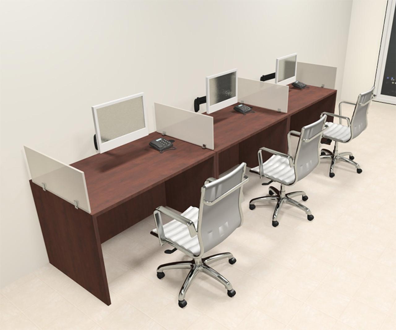 Three Person Modern Divider Office Workstation Desk Set, #CH-AMB-SP66