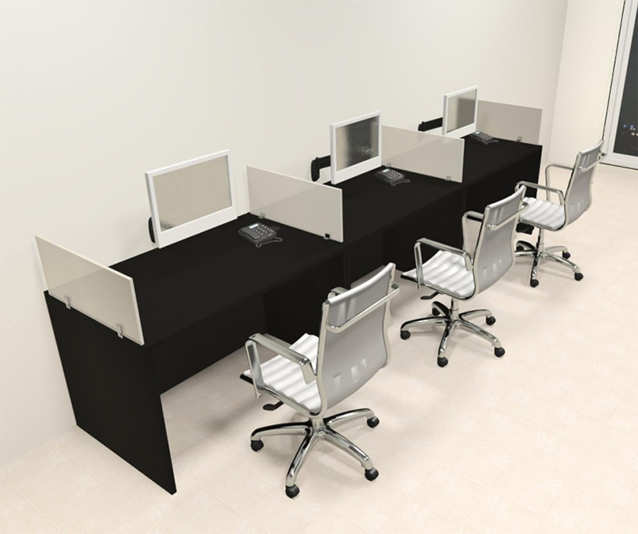 Three Person Modern Divider Office Workstation Desk Set, #CH-AMB-SP68