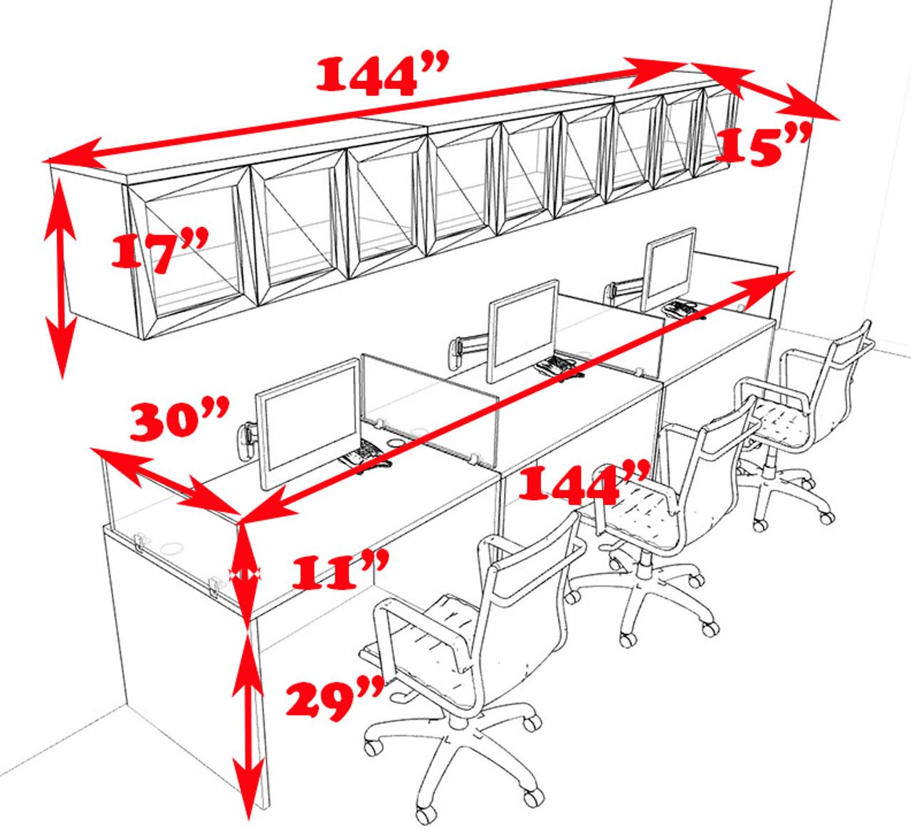 Three Person Modern Divider Office Workstation Desk Set, #CH-AMB-SP86