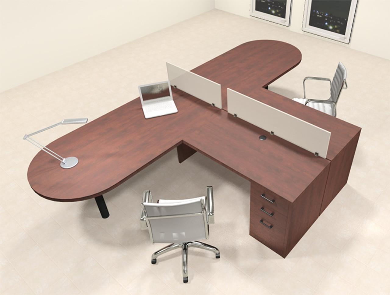 Two Person L Shaped Modern Divider Office Workstation Desk Set Ch Amb Sp16 H2o Furniture