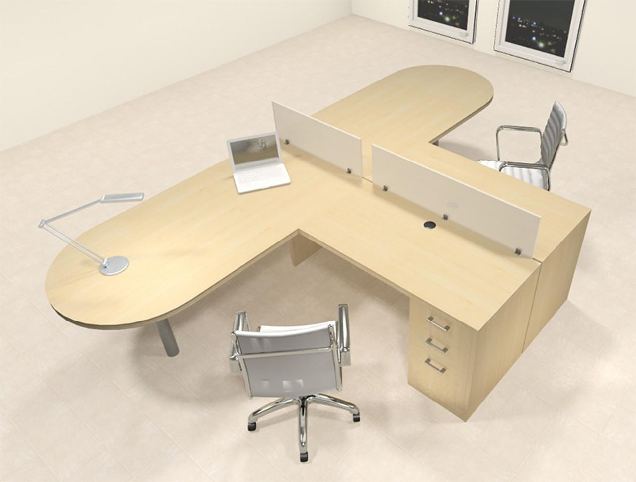 Two Person L Shaped Modern Divider Office Workstation Desk Set Ch Amb Sp20 H2o Furniture