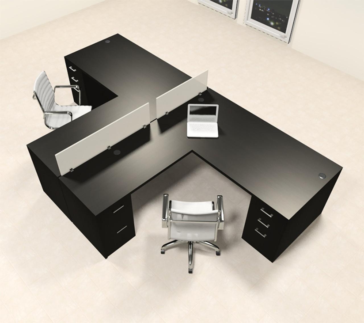 Two Person L Shaped Modern Divider Office Workstation Desk Set, #CH-AMB-SP33