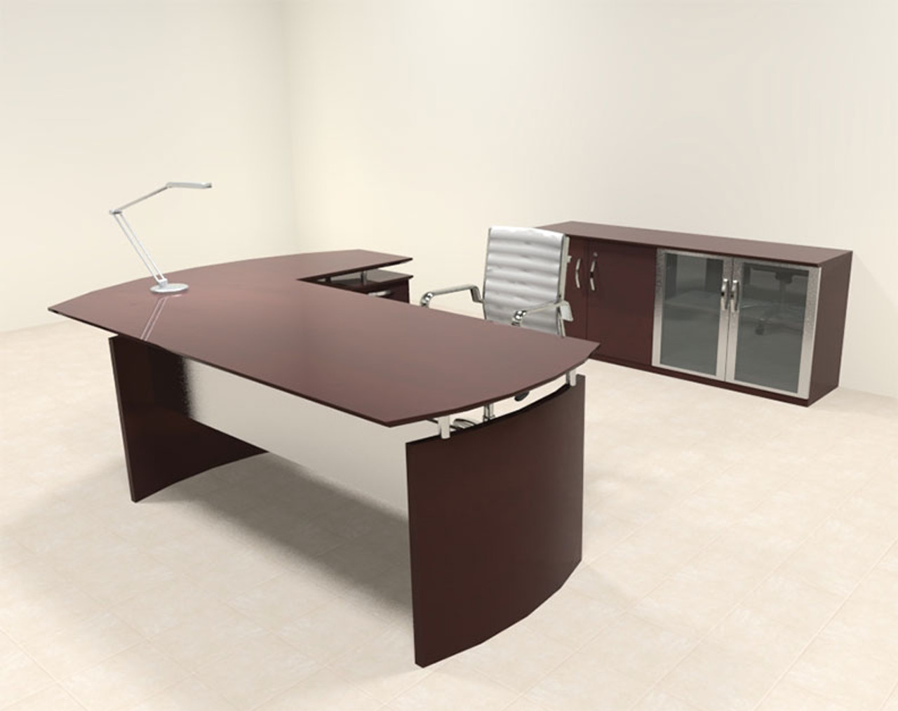 3pc Modern Contemporary L Shape Executive Office Desk Set, #RO-NAP-L6