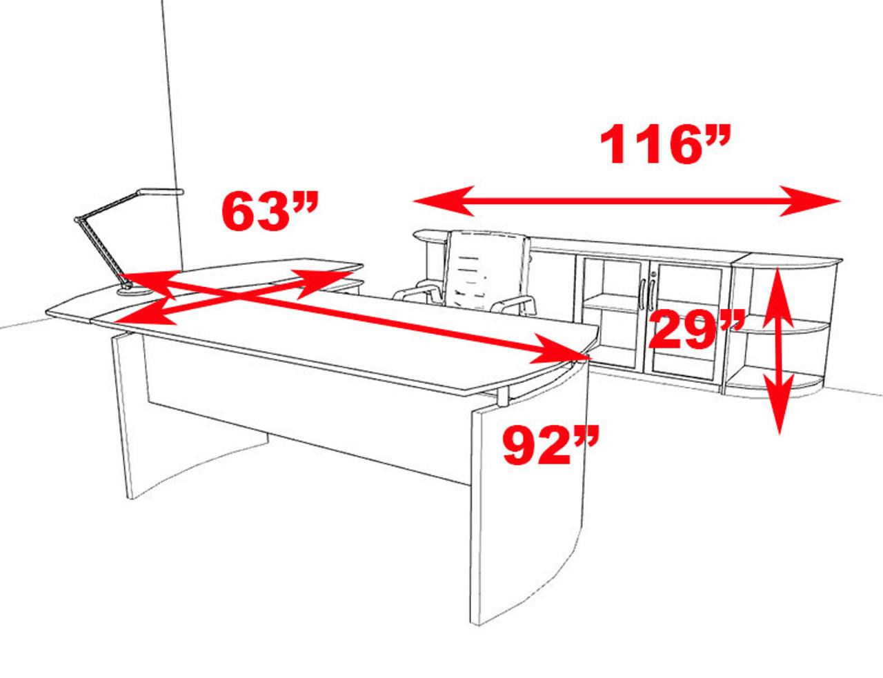 5pc Modern Contemporary L Shape Executive Office Desk Set, #RO-NAP-L9