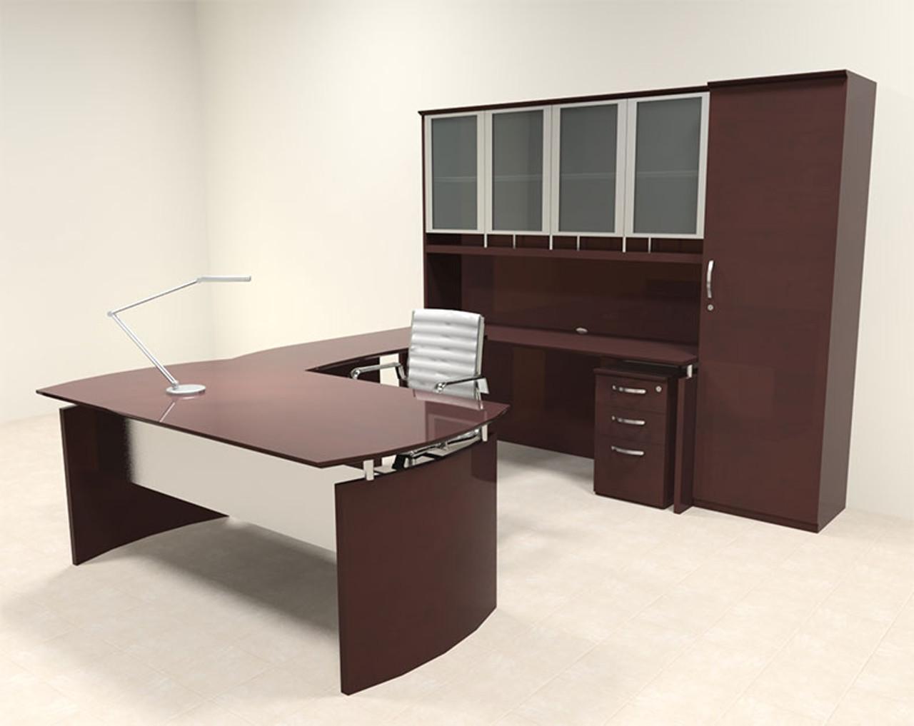 6pc Modern Contemporary U Shape Executive Office Desk Set, #RO-NAP-U12