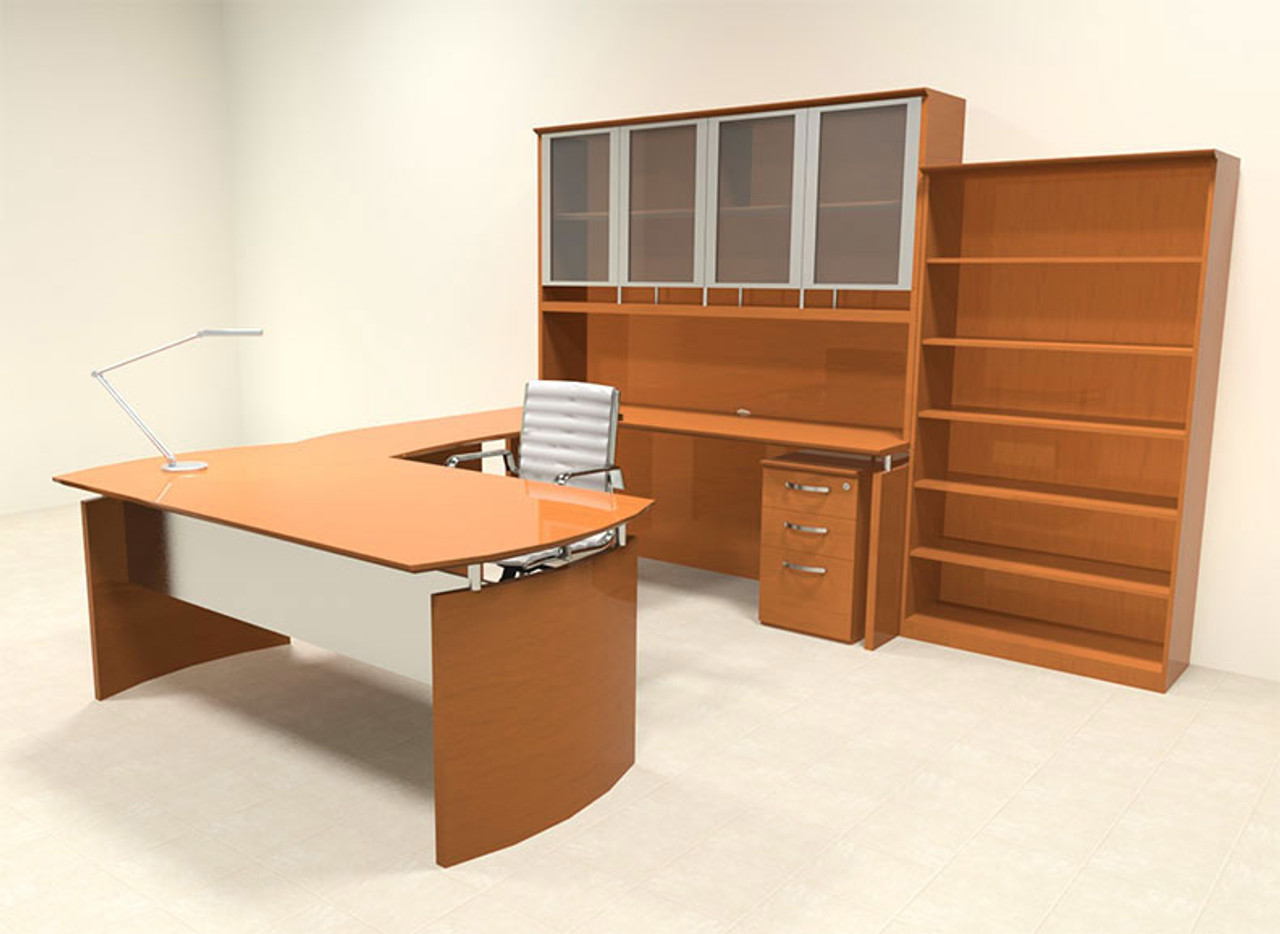 6pc Modern Contemporary U Shape Executive Office Desk Set, #RO-NAP-U13
