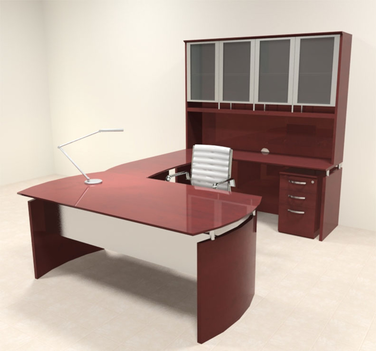 5pc Modern Contemporary U Shape Executive Office Desk Set, #RO-NAP-U5