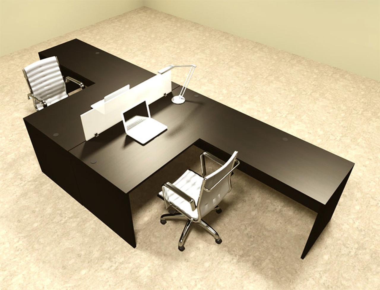 new products 0c845 70c6c Two Person L Shaped Modern Divider Office Workstation Desk Set, #OT-SUL-FP28