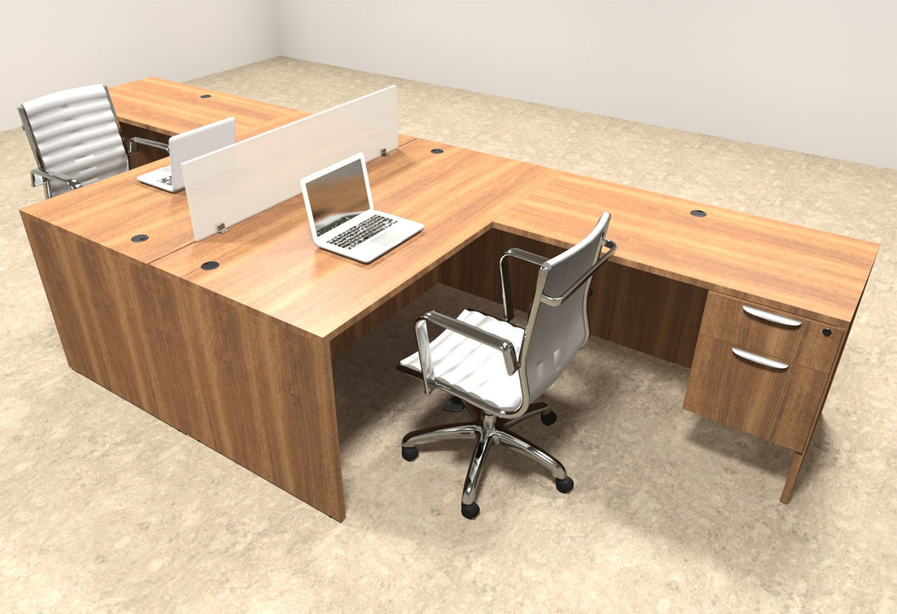 Two Person L Shaped Divider Office Workstation Desk Set, #OT-SUL-FP37