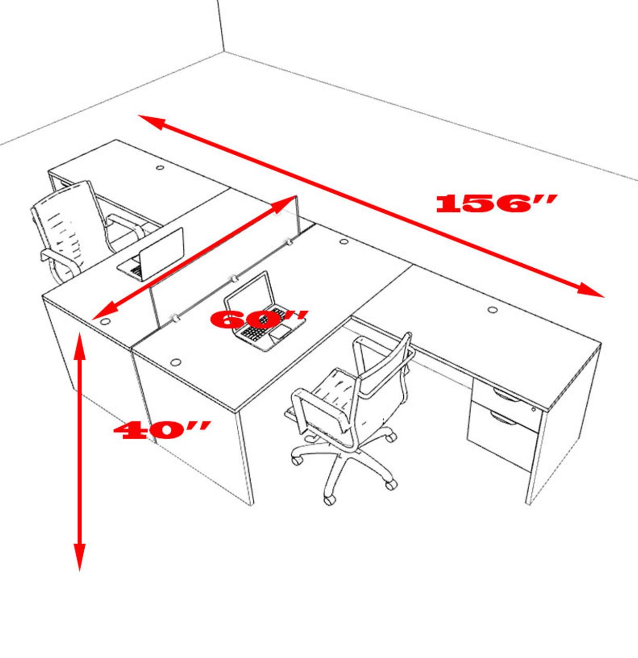 Two Person L Shaped Divider Office Workstation Desk Set, #OT-SUL-FP39