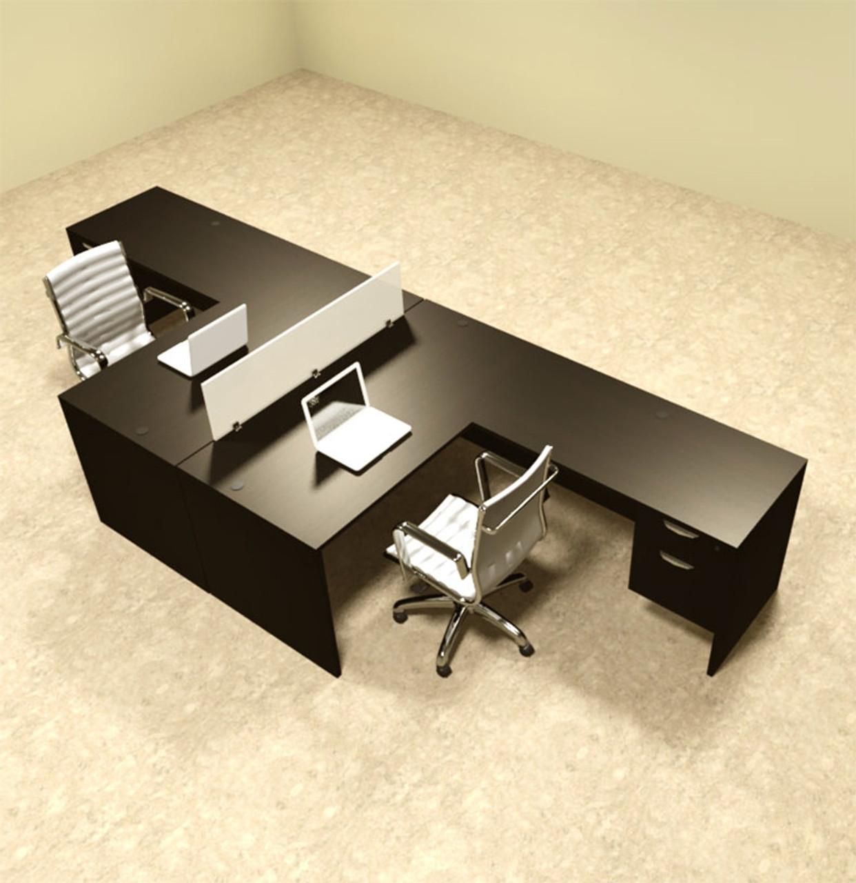 Two Person L Shaped Divider Office Workstation Desk Set, #OT-SUL-FP40