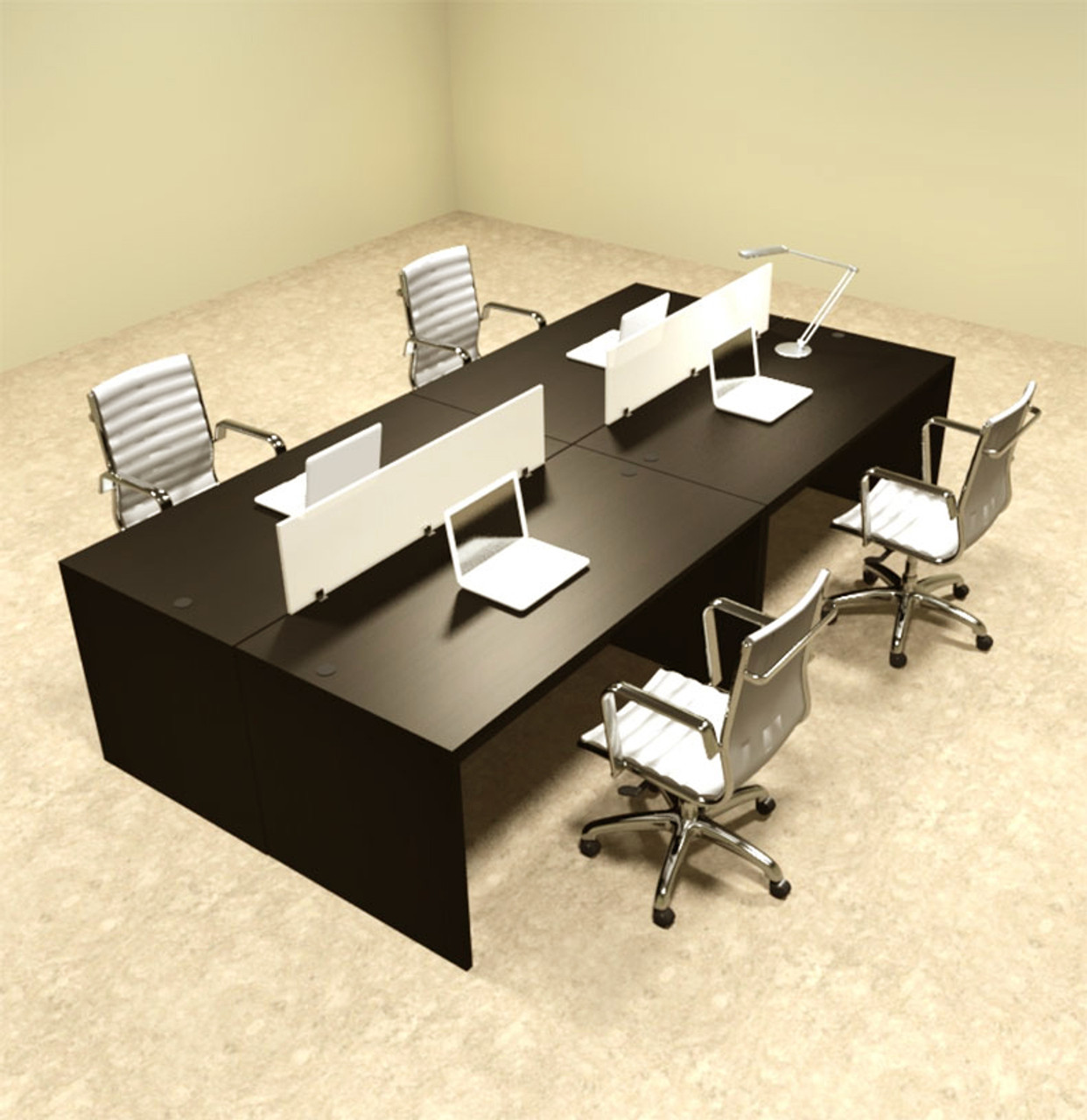 Office workstation desk Corporate Office Four Person Modern Divider Office Workstation Desk Set otsulfp8 Thesynergistsorg Four Person Modern Divider Office Workstation Desk Set otsulfp8