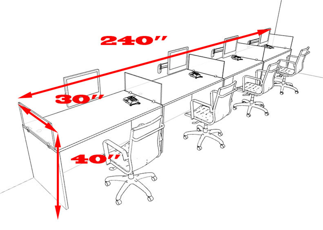 Four Person Divider Modern Office Workstation Desk Set, #OT-SUL-SP10