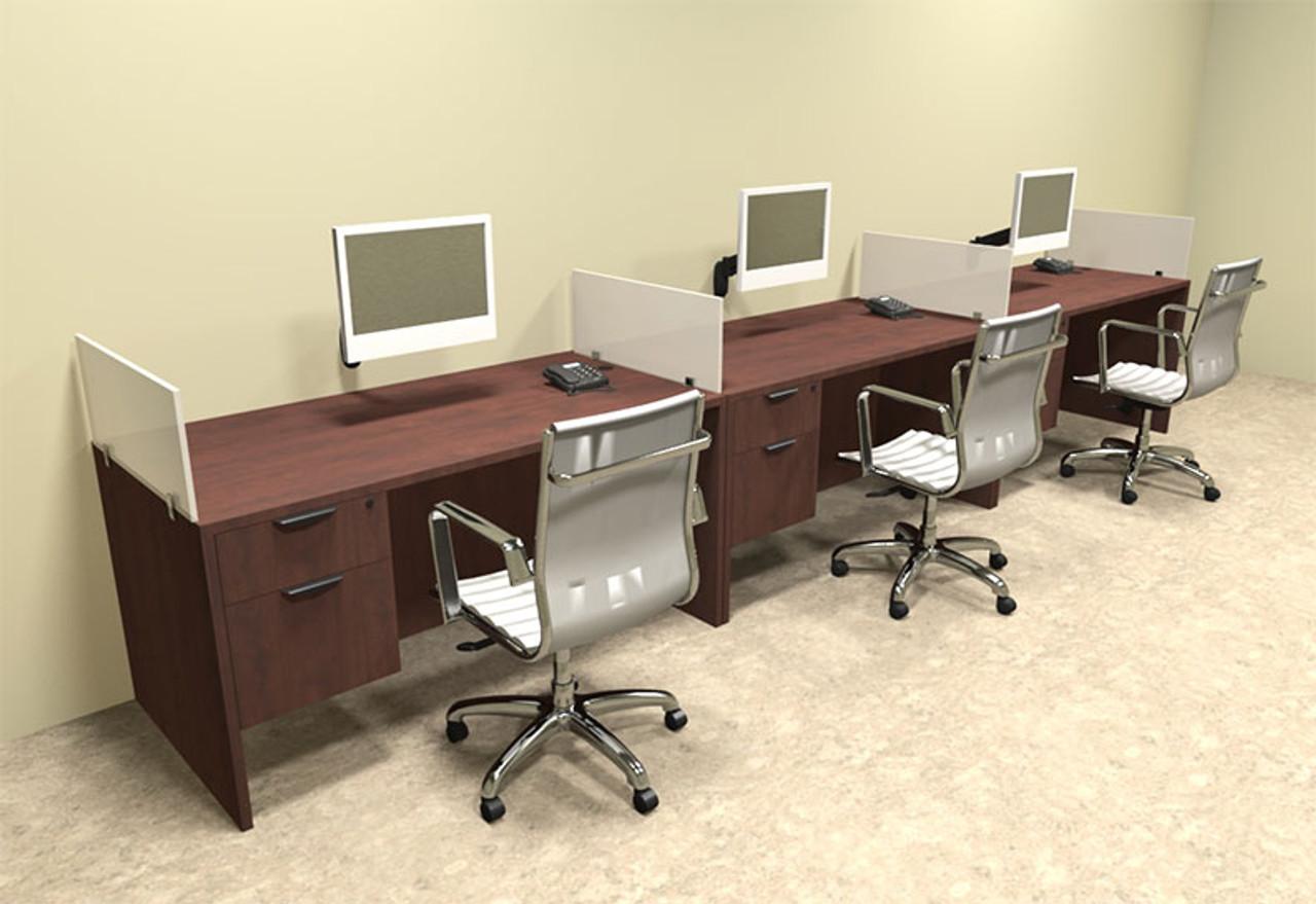 Three Person Divider Modern Office Workstation Desk Set, #OT-SUL-SP26