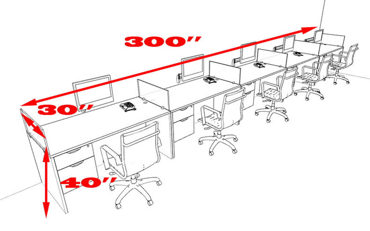 Five Person Divider Modern Office Workstation Desk Set, #OT-SUL-SP34