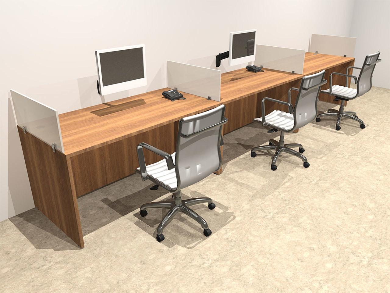 Three Person Divider Modern Office Workstation Desk Set, #OT-SUL-SP5