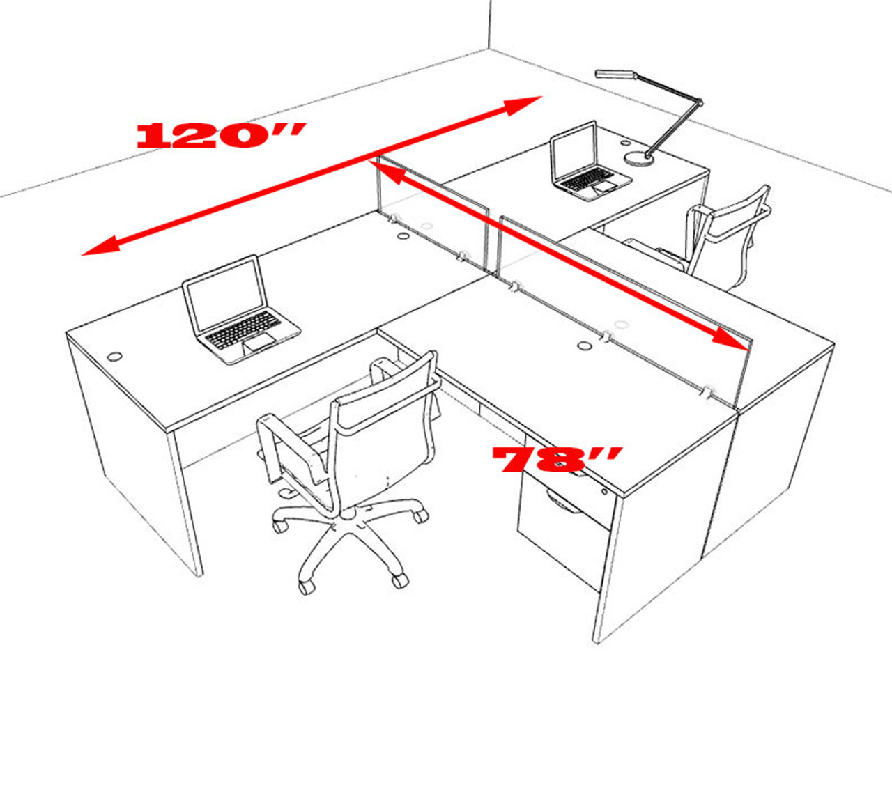 Two Person L Shaped Divider Office Workstation Desk Set, #OT-SUL-SP55