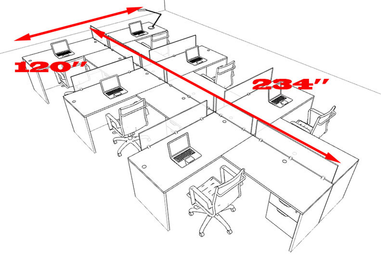 Six Person L Shaped Divider Office Workstation Desk Set, #OT-SUL-SP64