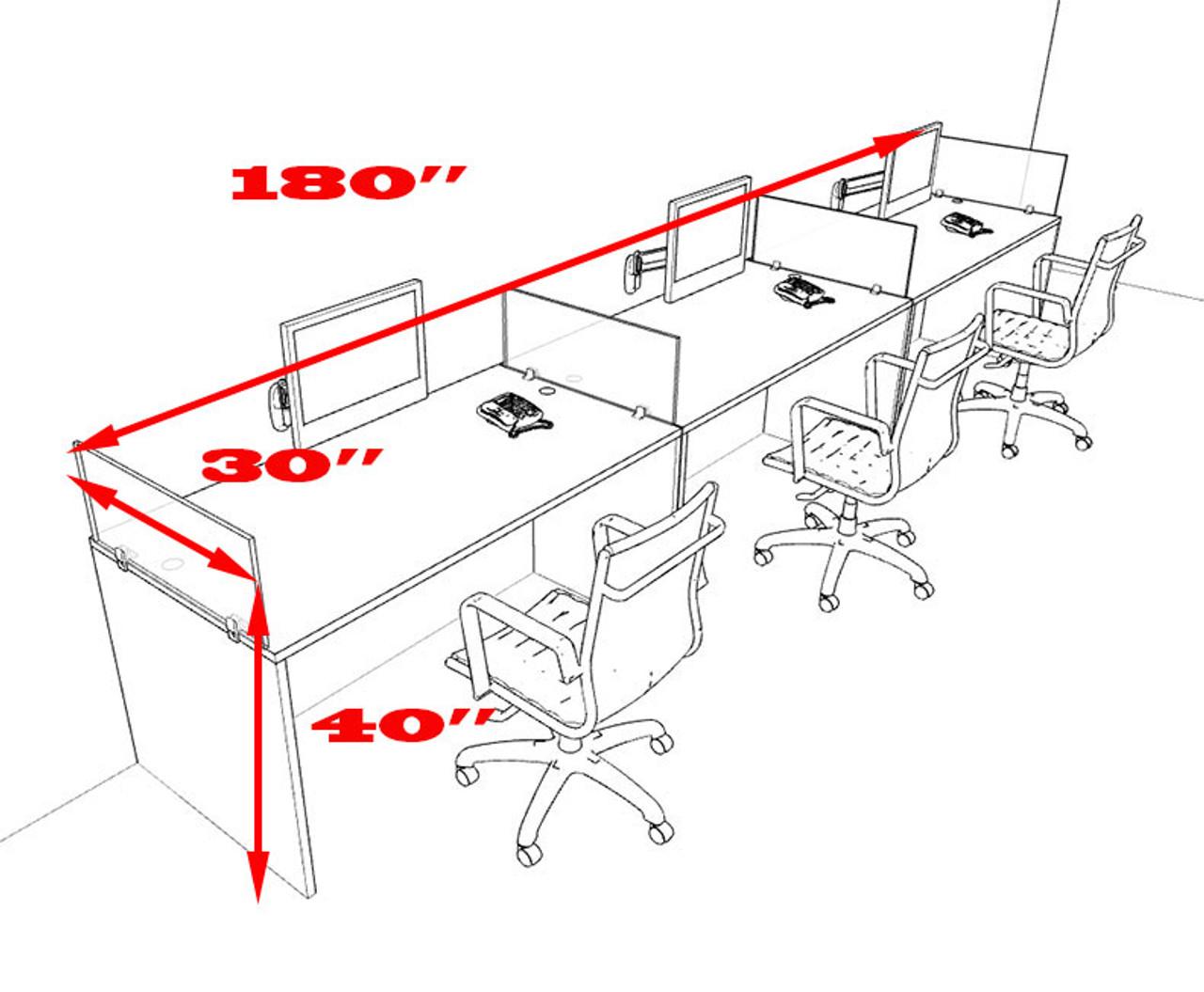 Three Person Divider Modern Office Workstation Desk Set, #OT-SUL-SP7