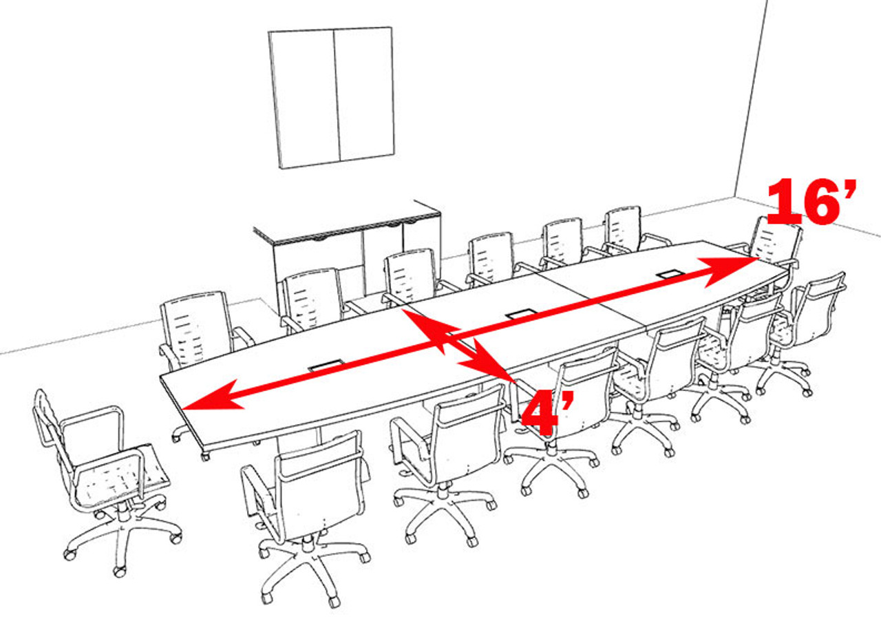 Modern Boat Shaped 16' Feet Conference Table, #OF-CON-C125
