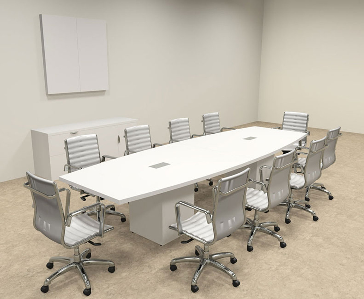 Modern Boat Shaped Cube Leg 12' Feet Conference Table, #OF-CON-CQ22