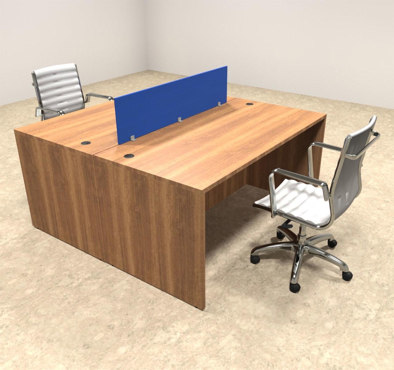 Two Person Modern Blue Divider Office Workstation Desk Set, #OT-SUL-FPB1