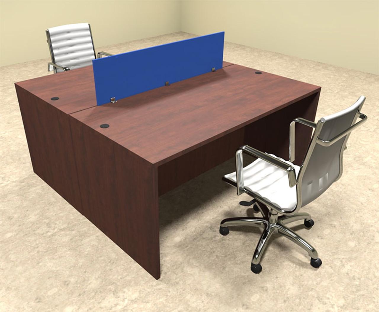 Two Person Modern Blue Divider Office Workstation Desk Set, #OT-SUL-FPB2