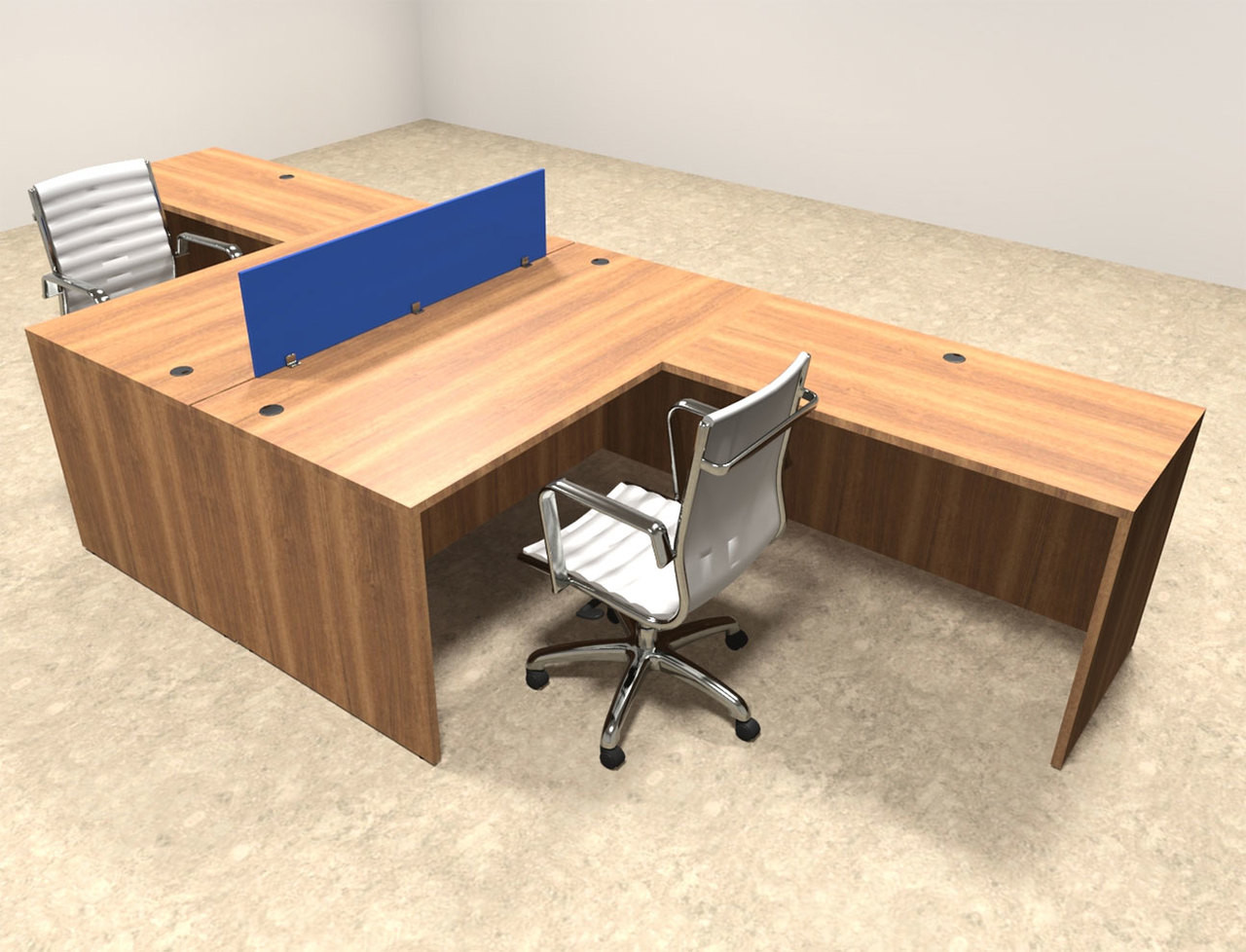 Two Person Blue Divider Office Workstation Desk Set, #OT-SUL-FPB25