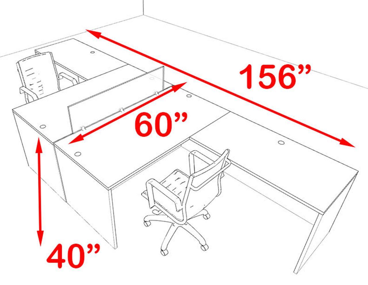 Two Person Blue Divider Office Workstation Desk Set, #OT-SUL-FPB27