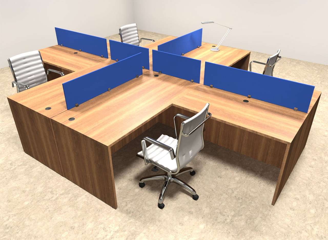 Four Person Blue Divider Office Workstation Desk Set, #OT-SUL-FPB29