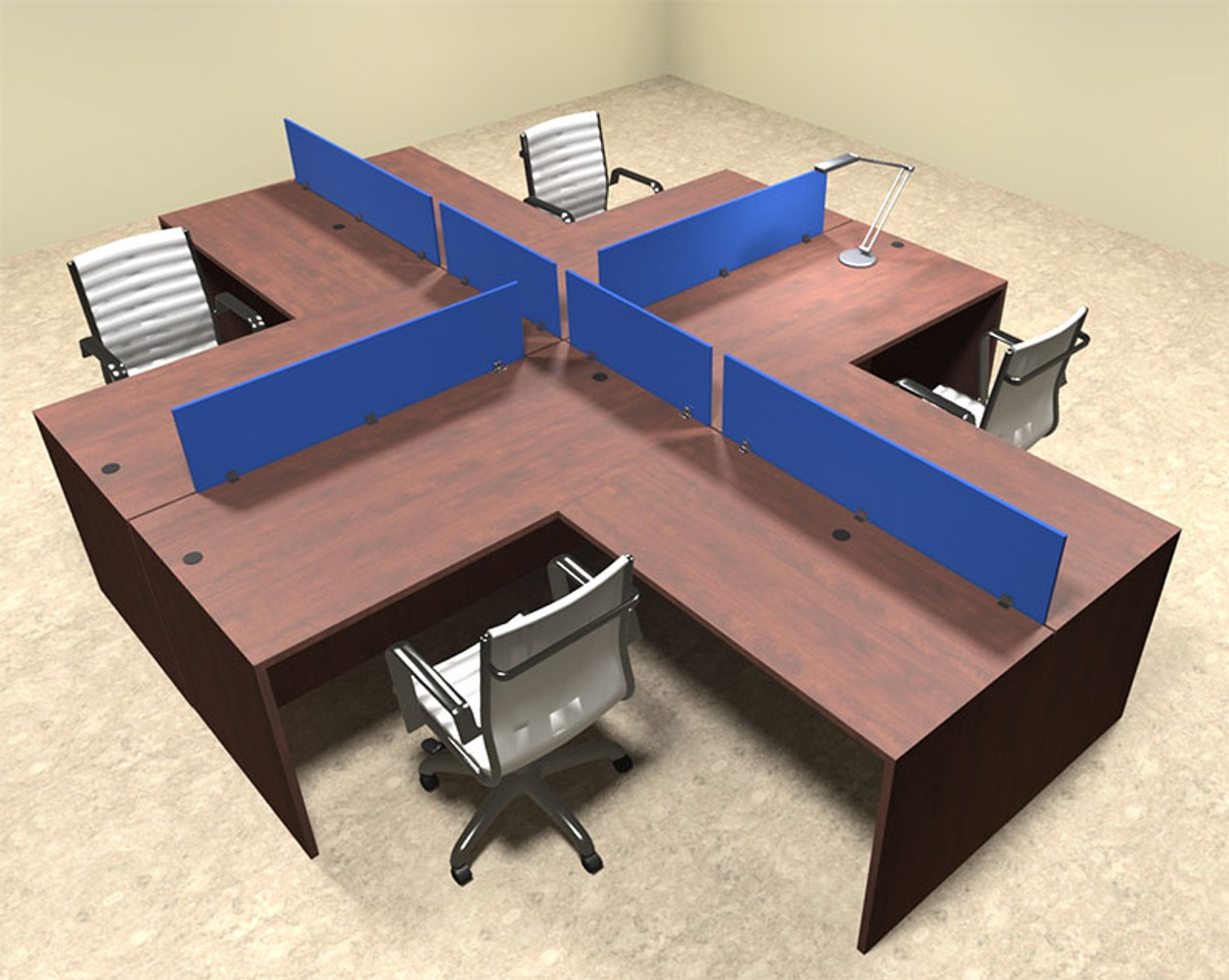 Four Person Blue Divider Office Workstation Desk Set, #OT-SUL-FPB30