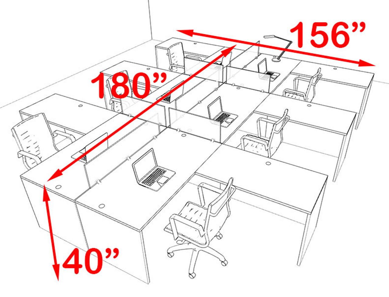 Six Person Blue Divider Office Workstation Desk Set, #OT-SUL-FPB36