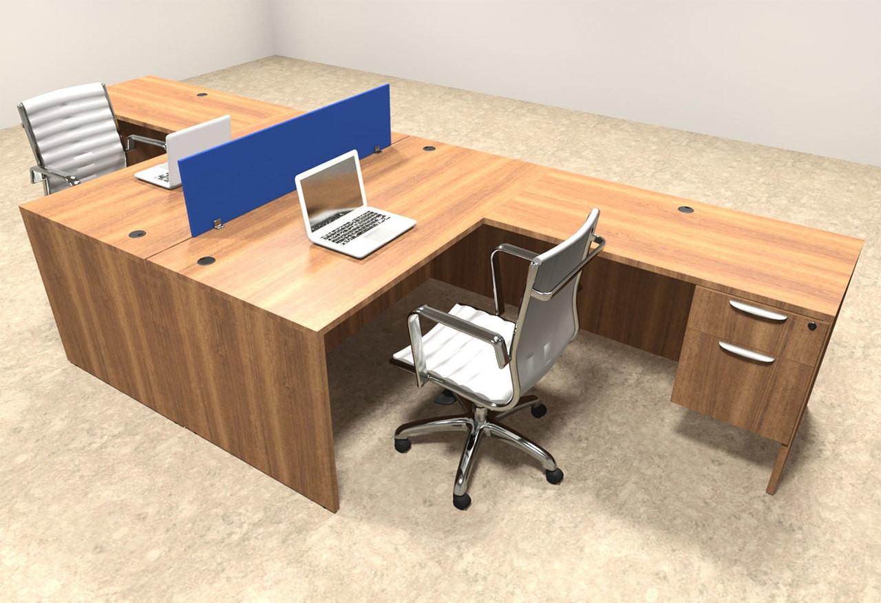 Two Person Blue Divider Office Workstation Desk Set, #OT-SUL-FPB37