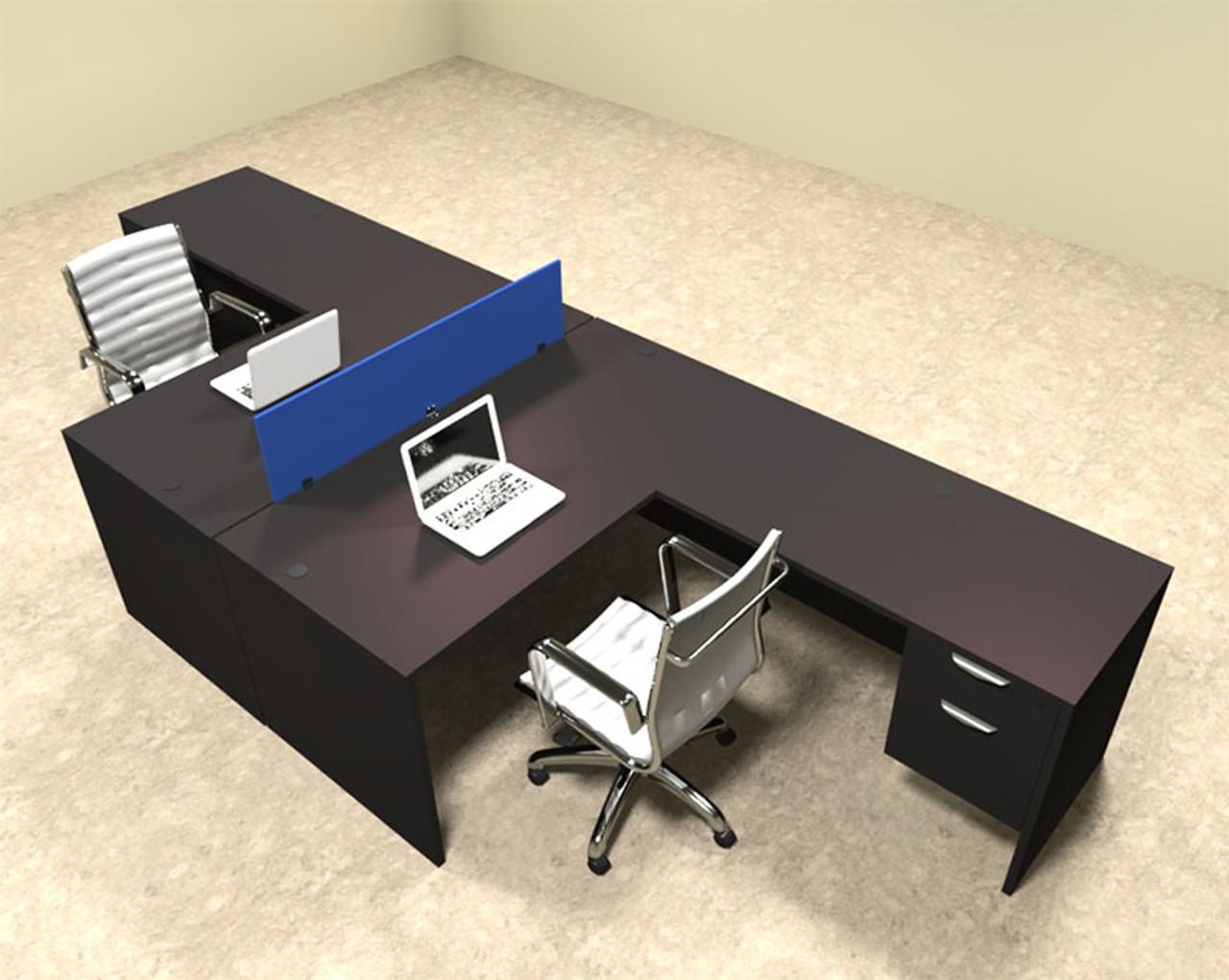 Two Person Blue Divider Office Workstation Desk Set, #OT-SUL-FPB40