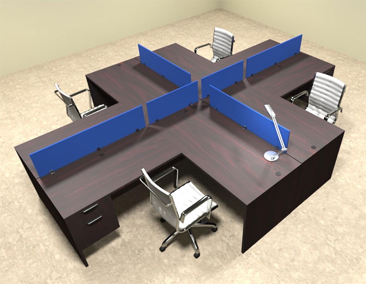 Four Person Blue Divider Office Workstation Desk Set, #OT-SUL-FPB43
