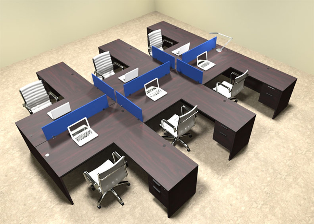 Six Person Blue Divider Office Workstation Desk Set, #OT-SUL-FPB47