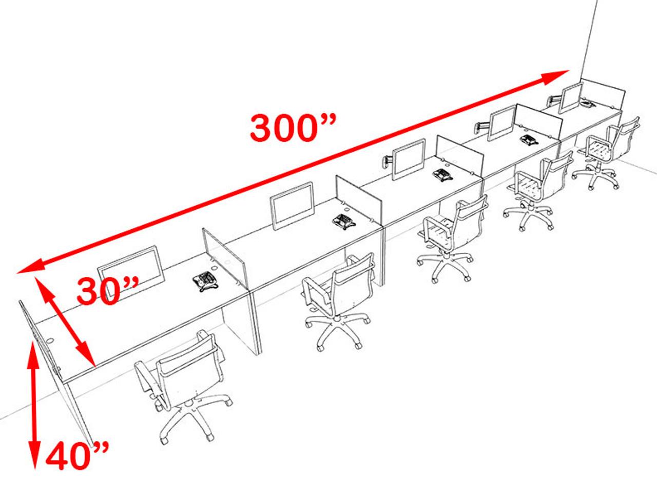Five Person Blue Divider Office Workstation Desk Set, #OT-SUL-SPB16