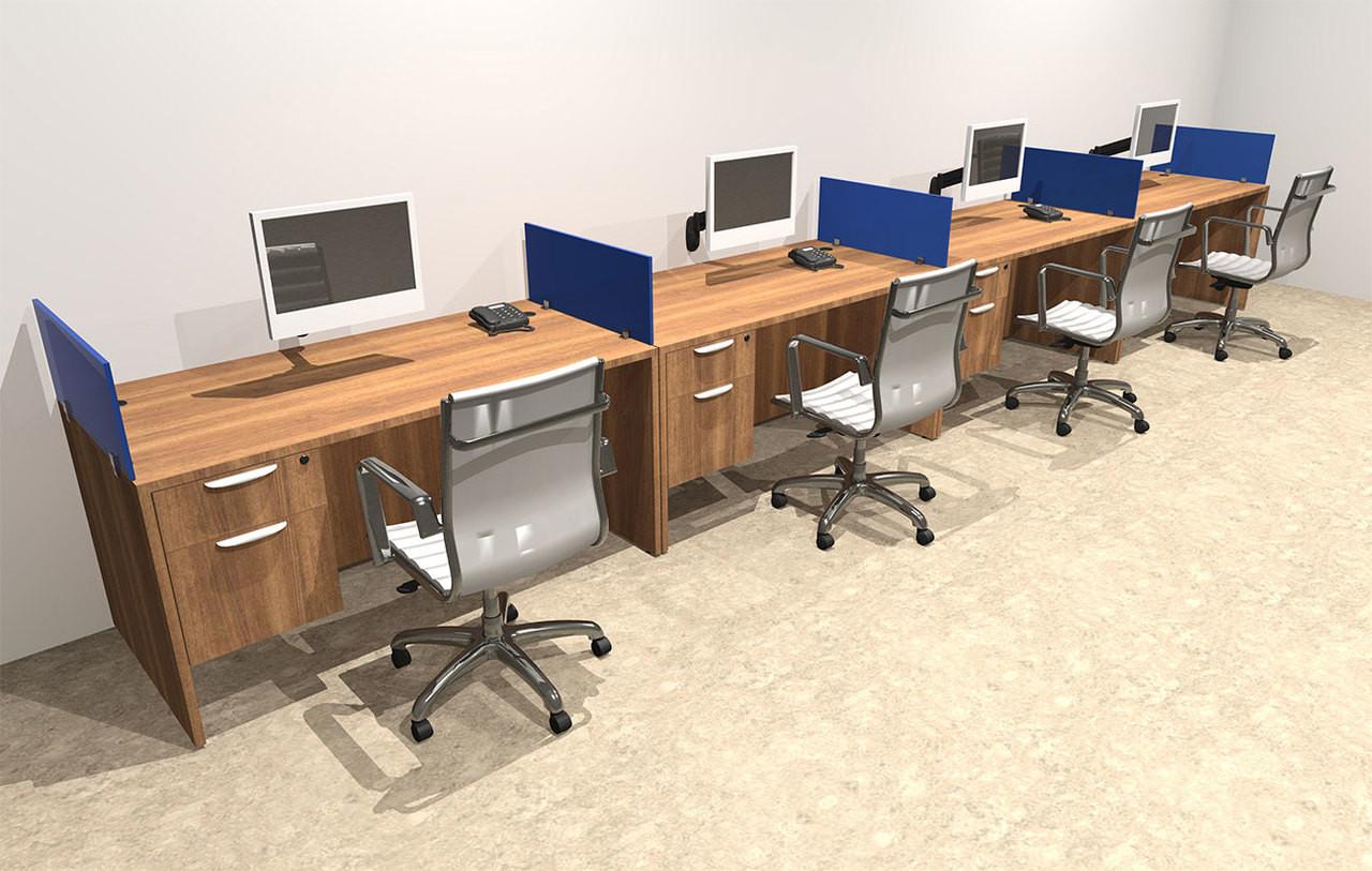 Four Person Blue Divider Office Workstation Desk Set, #OT-SUL-SPB29