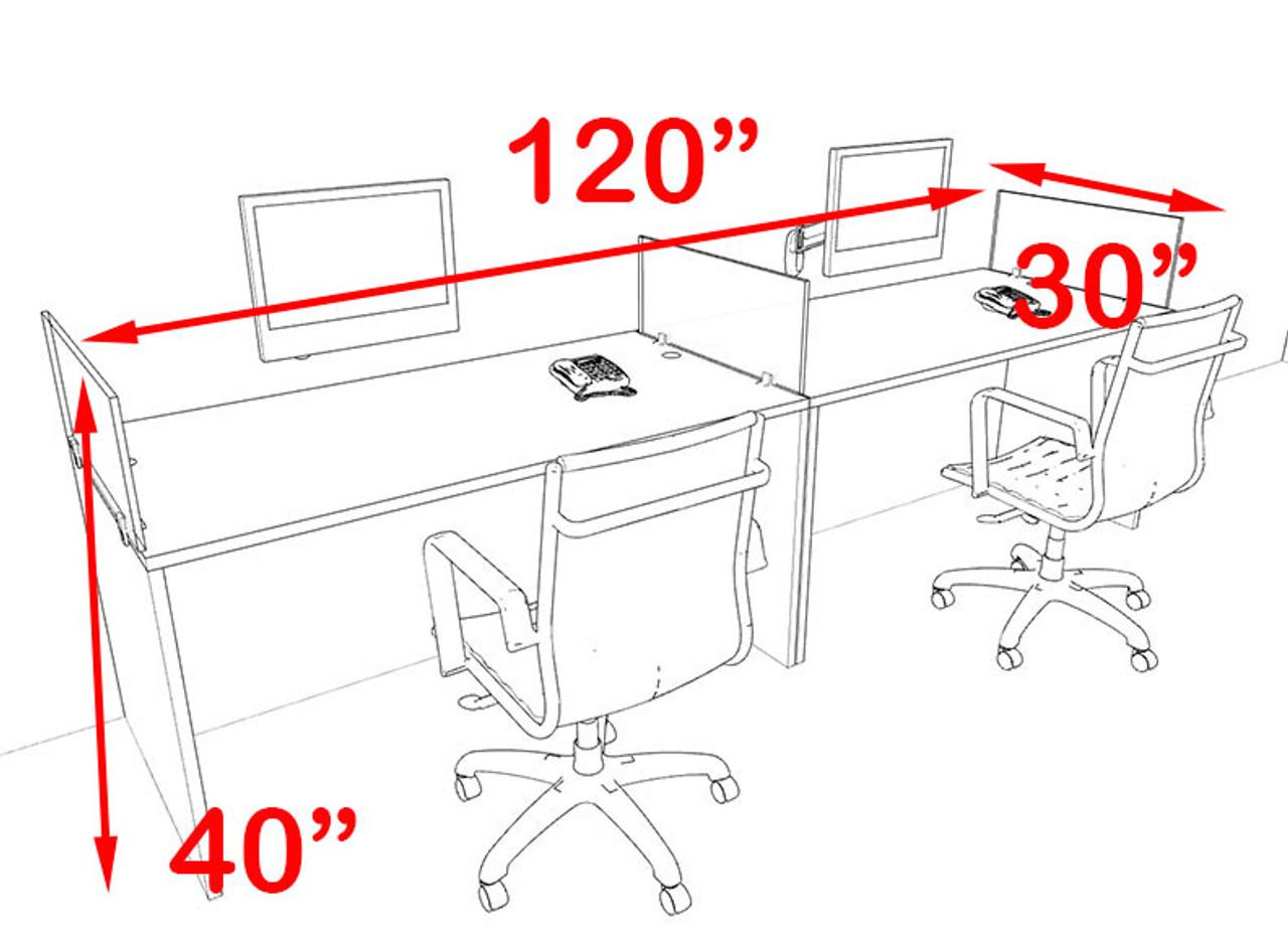 Two Person Blue Divider Office Workstation Desk Set, #OT-SUL-SPB3
