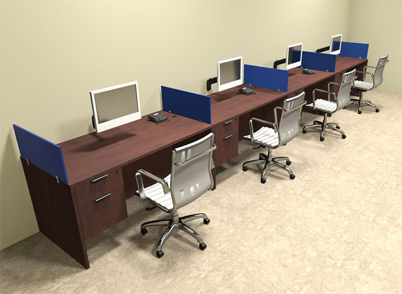 Four Person Blue Divider Office Workstation Desk Set, #OT-SUL-SPB30