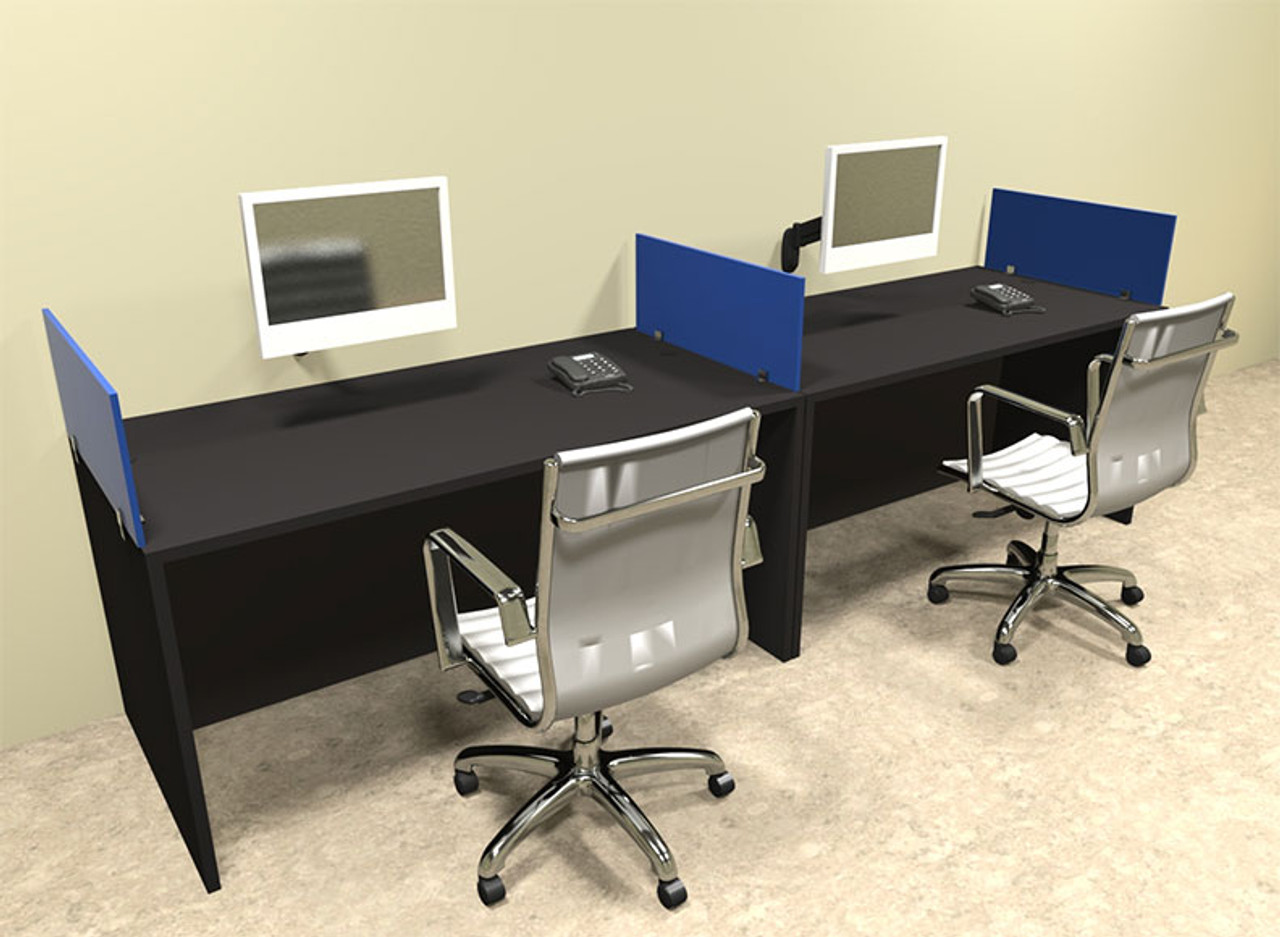 Two Person Blue Divider Office Workstation Desk Set, #OT-SUL-SPB4