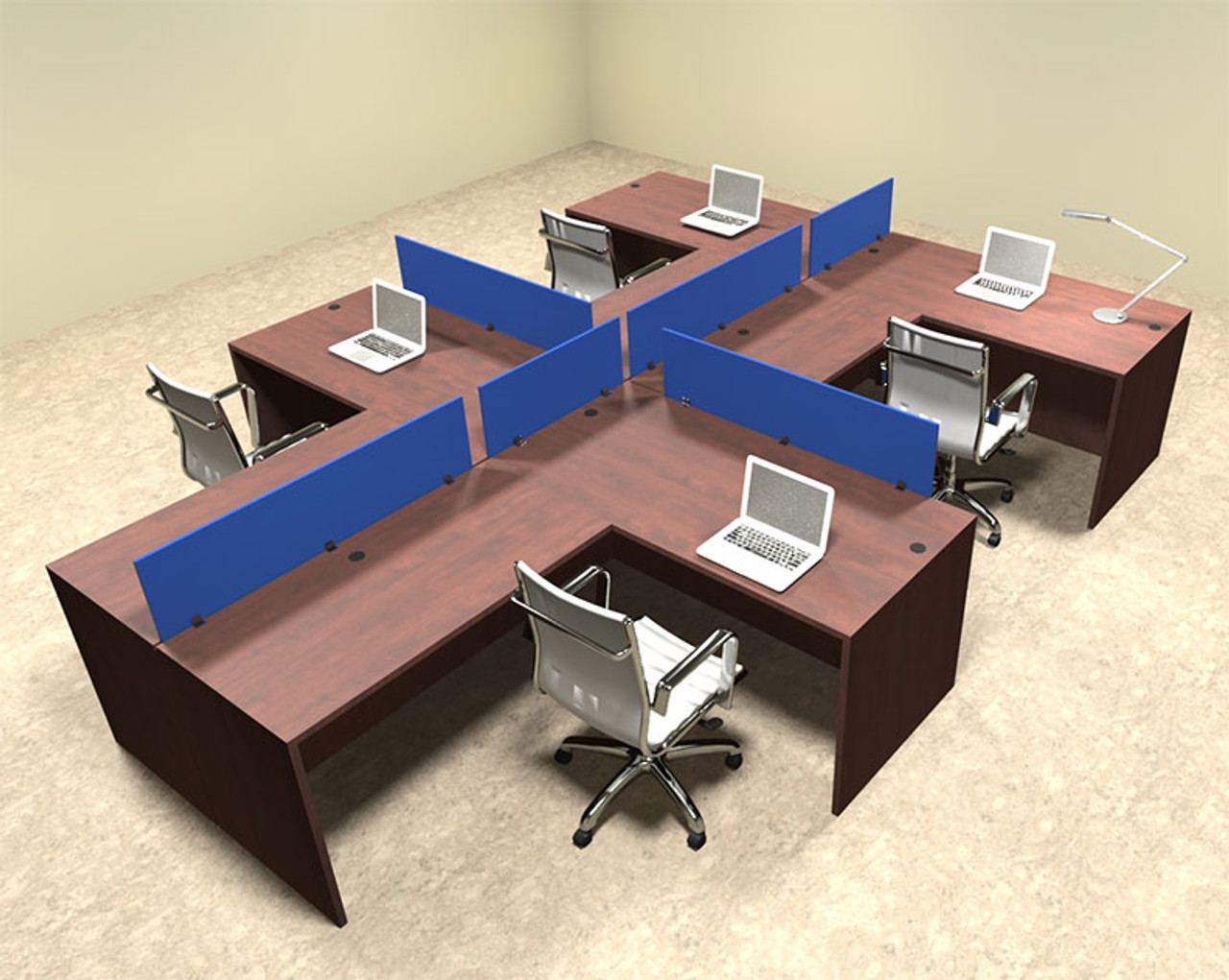 Four Person Blue Divider Office Workstation Desk Set, #OT-SUL-SPB46