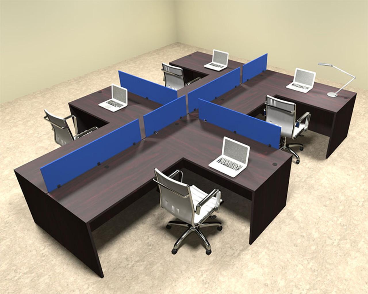 Four Person Blue Divider Office Workstation Desk Set, #OT-SUL-SPB47