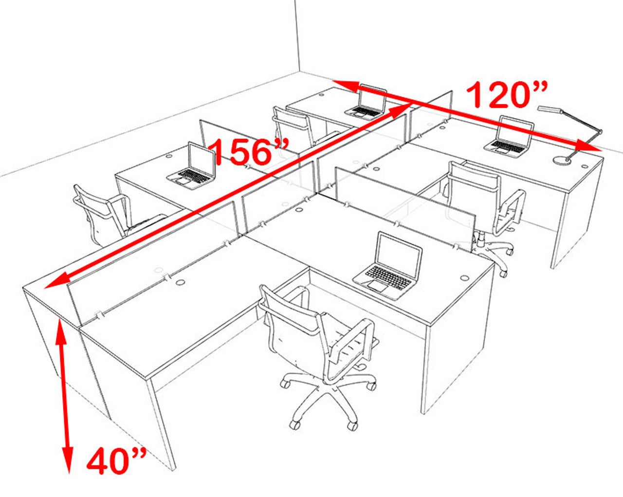 Four Person Blue Divider Office Workstation Desk Set, #OT-SUL-SPB48