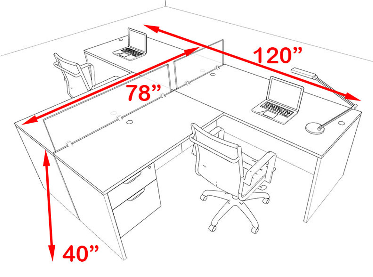 Two Person Blue Divider Office Workstation Desk Set, #OT-SUL-SPB54
