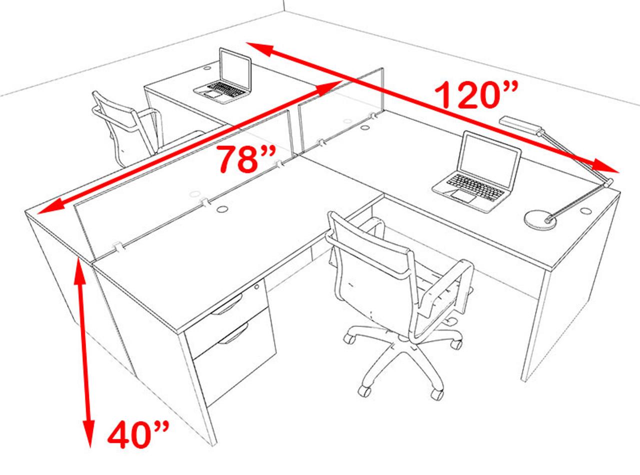 Two Person Blue Divider Office Workstation Desk Set, #OT-SUL-SPB55