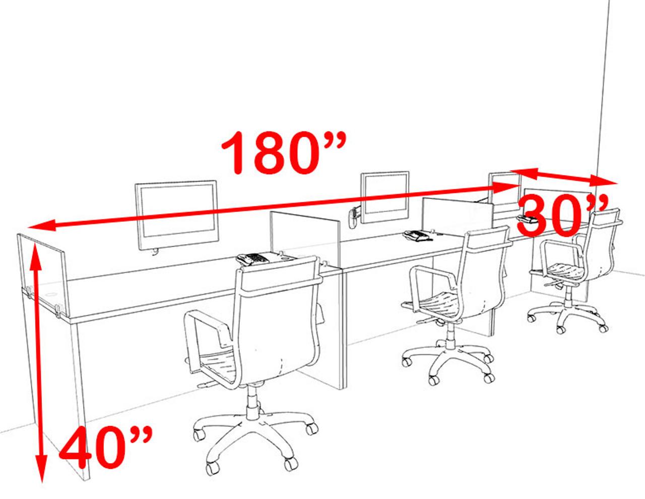 Three Person Blue Divider Office Workstation Desk Set, #OT-SUL-SPB6