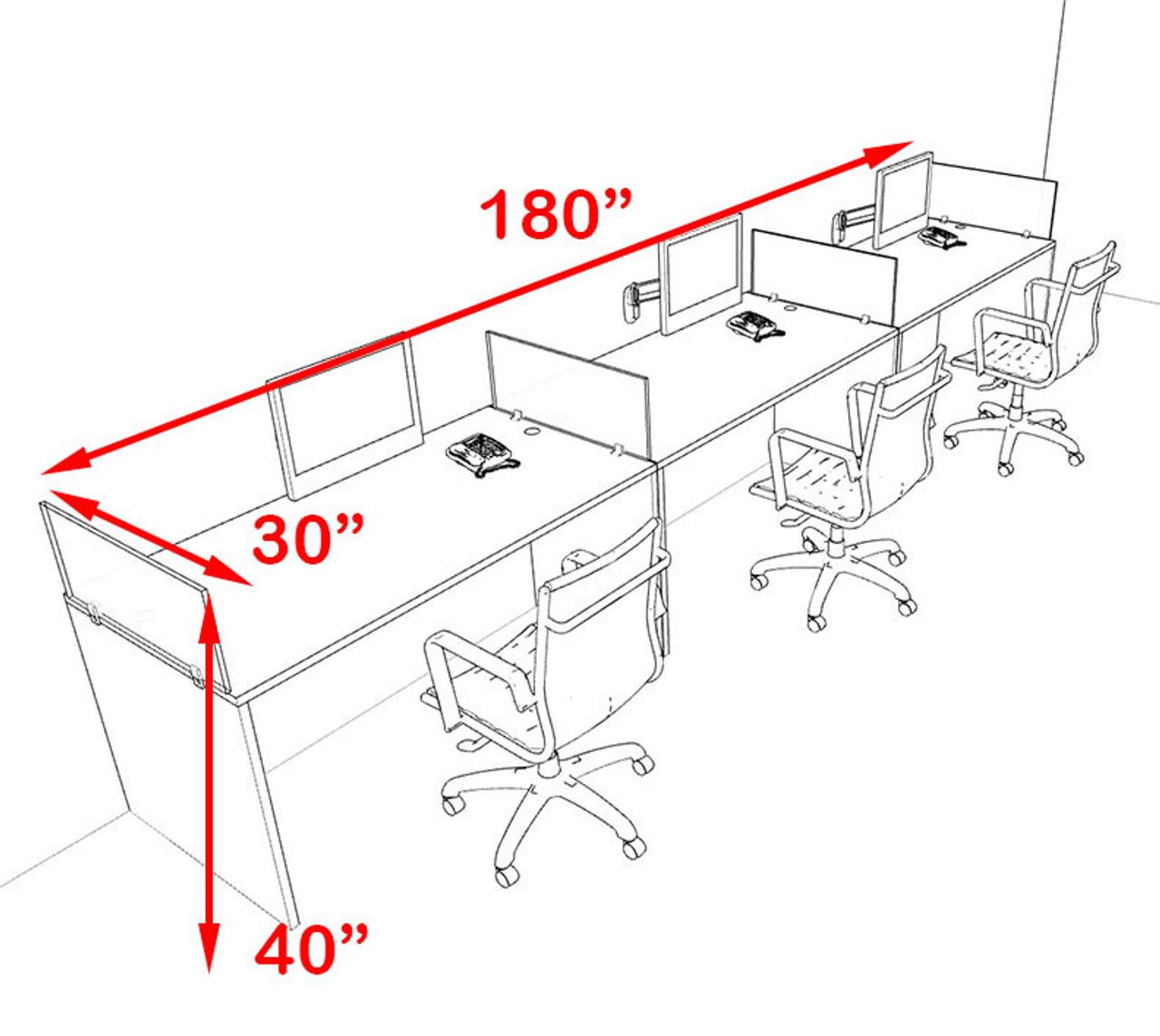 Three Person Orange Divider Office Workstation Desk Set, #OT-SUL-SPO6