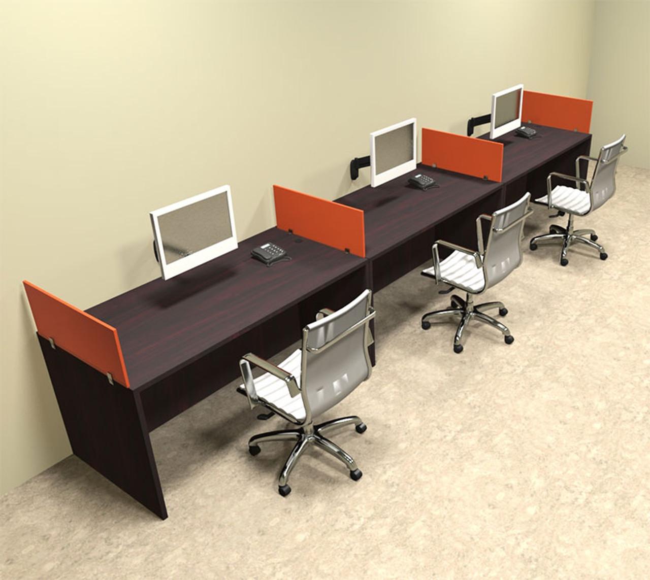 Three Person Orange Divider Office Workstation Desk Set, #OT-SUL-SPO7