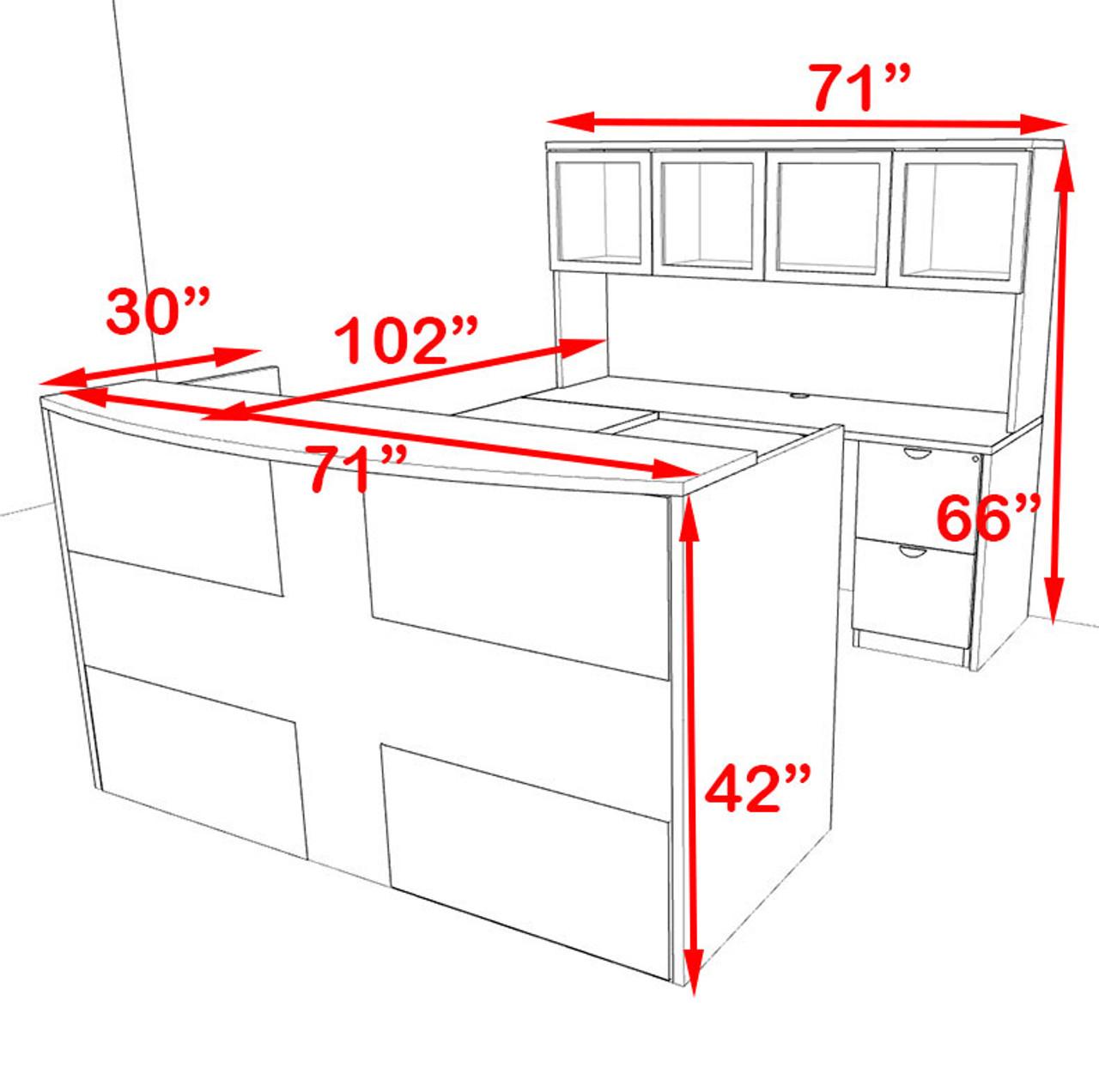 5pc U Shaped Modern Acrylic Panel Office Reception Desk, #OT-SUL-R19